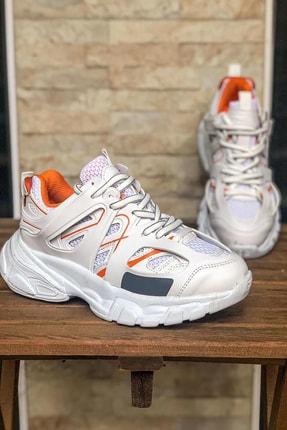 NOVELYA Beyaz Turuncu Çizgili Track Yüksek Taban Unisex Sneakers Ayakkabı 4