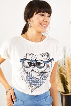 Olalook Kadın Beyaz Gözlük Salaş Tişört TSH-19000351 4