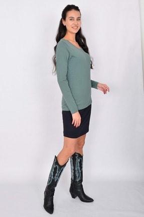 Letoile Pamuk Uzun Kollu Kadın T-shirt Yeşil 3