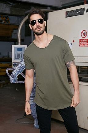 Sateen Men Erkek Haki Kısa Kol Long Kesim Basic T-Shirt 1