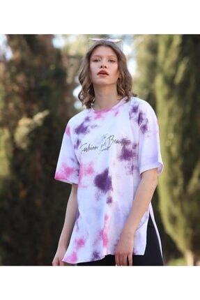 WoolnClyde Kadın Pembe Günlük  Koton Rahat Kesim Kısa Kollu Yuvarlak Yaka T-shirt 1
