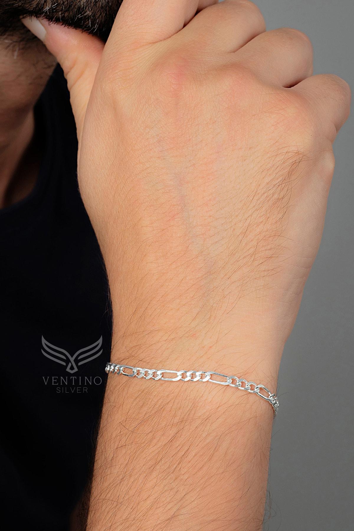 Erkek Figaro Gümüş Zincir Bileklik Veb-5022
