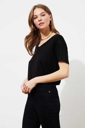 TRENDYOLMİLLA Siyah Sırt Detaylı Örme T-Shirt TWOSS20TS0881 1