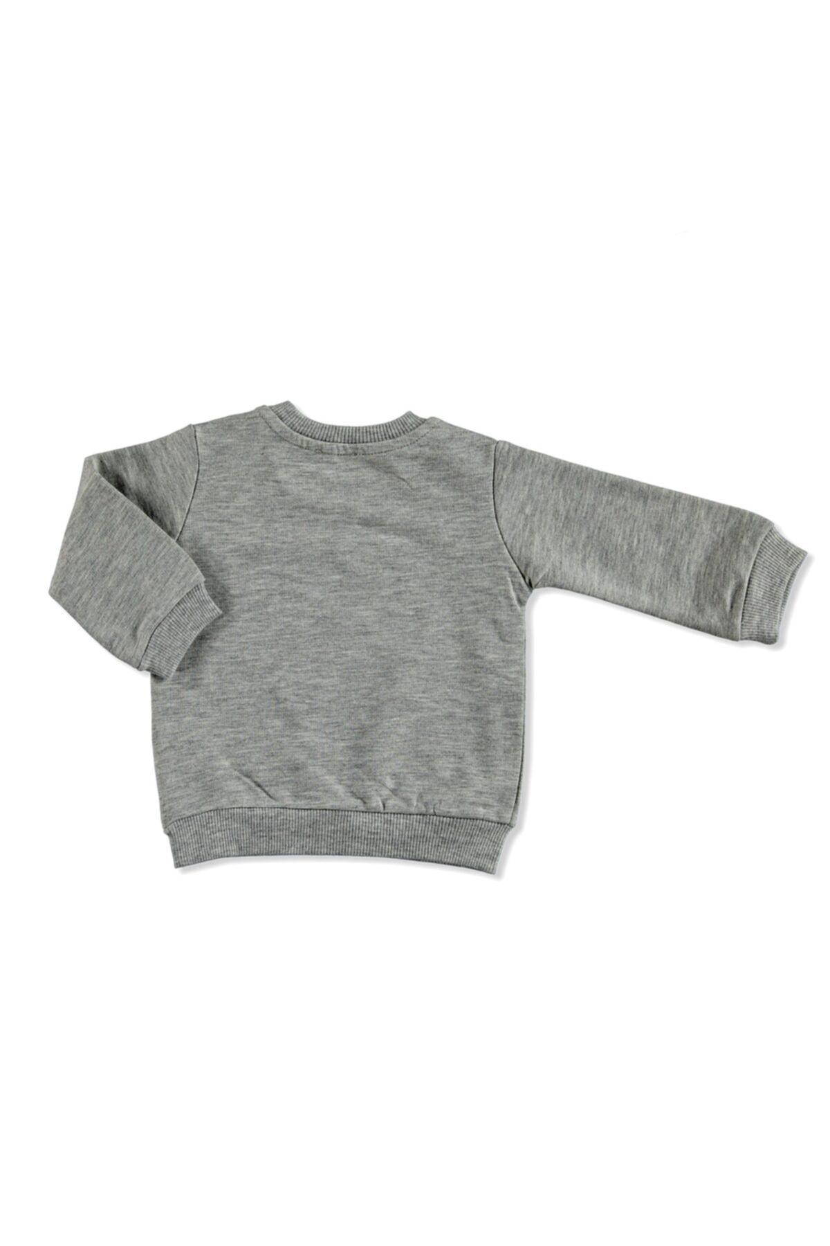 HelloBaby Unisex Gri Melanj Basic Baskılı Sweatshirt