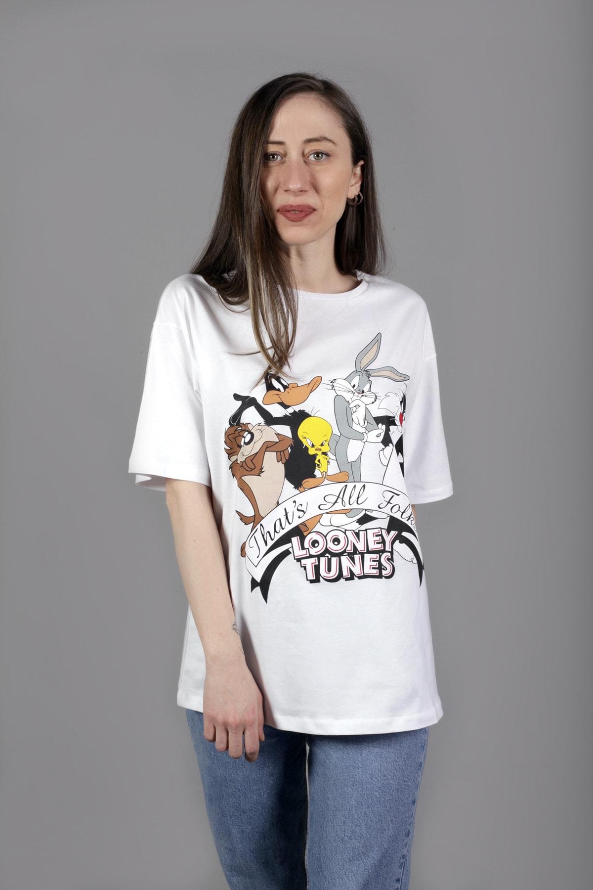 Kadın Looney Tunes Baskılı Oversize Beyaz Tişört