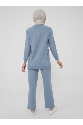 Refka Kadın Mavi Uzun Kollu Basic Eşofman Takımı 3