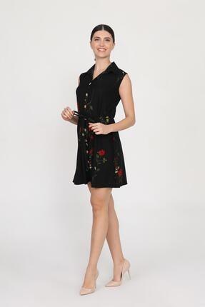 Ceylen Kadın  Önden Düğmeli Desenli Mini Örme Krep Elbise 0
