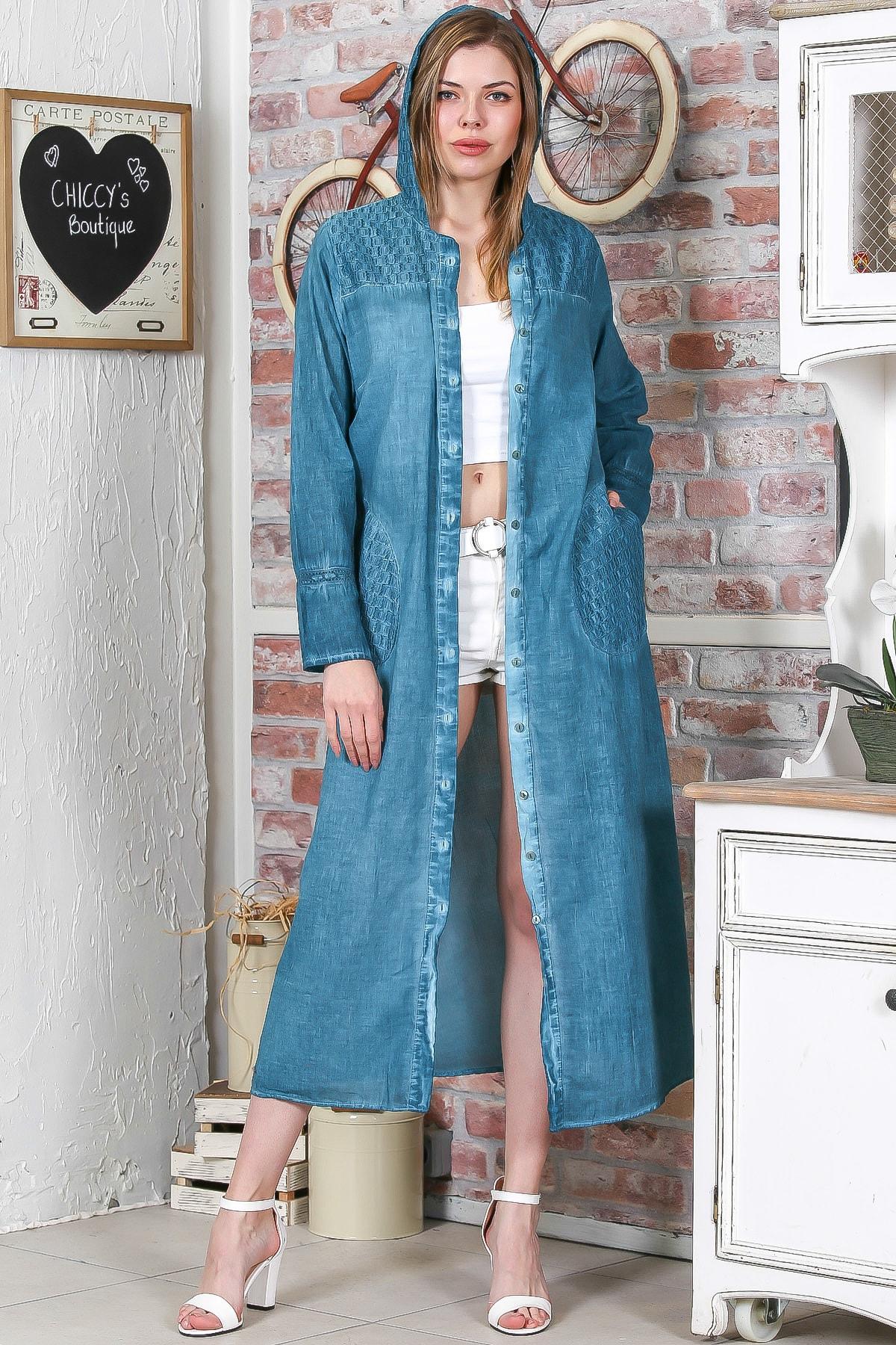 Kadın Petrol Mavi  Omuzları Cepleri Dantel Kapüşonlu Yıkamalı Uzun Ceket M10210100CE99043