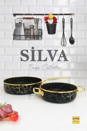 Silva Emaye - Granit 2'li Tava Sahan Seti Black ZEMSİLVA045