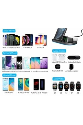 MARSTEC 3 In 1 Apple Watch Samsung Iphone Airpods 15 Watt Kablosuz Beyaz Dock Stand Hızlı Şarj Istasyonu 2