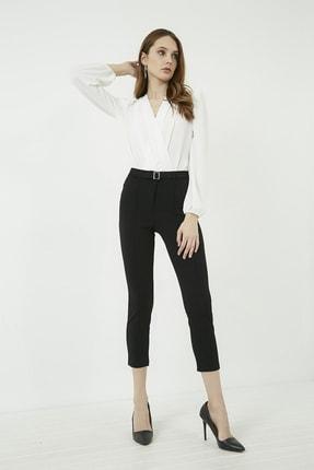 Vis a Vis Kadın Siyah Önü Biyeli Tokalı Pantolon 20KPA768K101 1