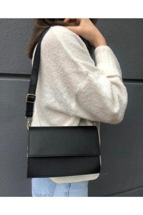 SWAN BOUTIQUE Kadın Siyah Kapaklı Çapraz Askılı Çanta 3