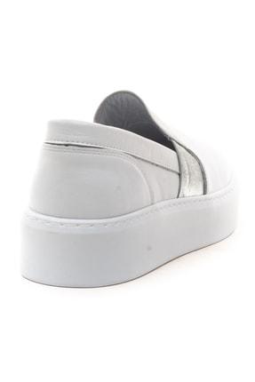 GRADA Kadın Sade Düz Beyaz Hakiki Deri Sneaker Ayakkabı 4