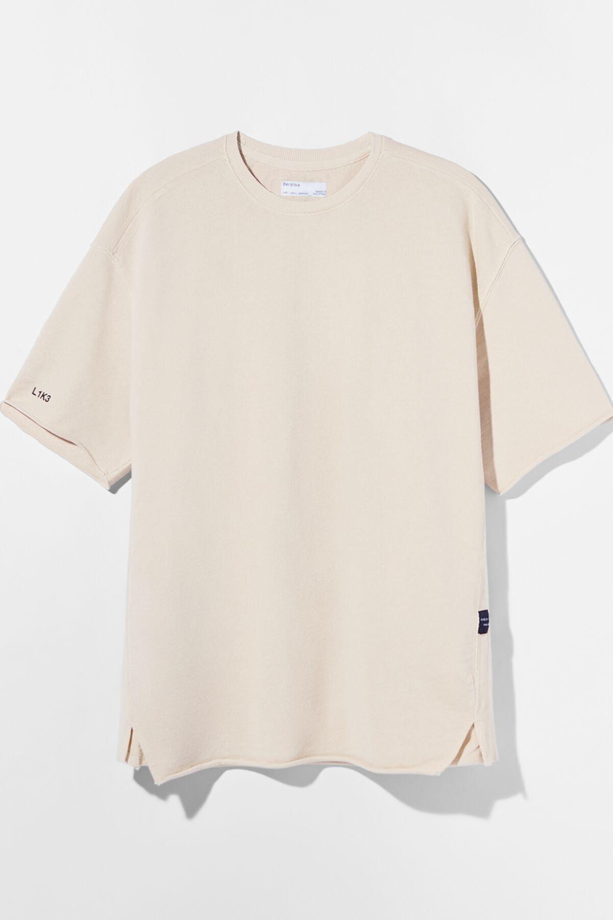 Bershka Erkek Kum Rengi Soluk Efektli Pamuklu T-Shirt 02406240 4