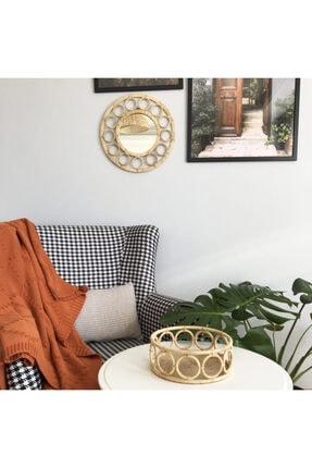 Elysium Home Art Halka Detaylı Rafya Dekoratif Duvar Aynası 1