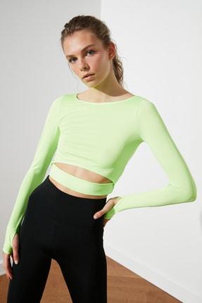 TRENDYOLMİLLA Yeşil Bel Detaylı Crop Spor Bluz TWOAW21BZ0156 2