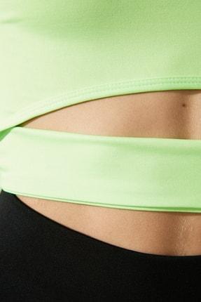 TRENDYOLMİLLA Yeşil Bel Detaylı Crop Spor Bluz TWOAW21BZ0156 3