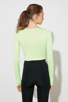 TRENDYOLMİLLA Yeşil Bel Detaylı Crop Spor Bluz TWOAW21BZ0156 4