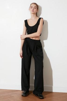 TRENDYOLMİLLA Siyah Flare Örme Pantolon TWOSS21PL0410 2