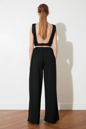 TRENDYOLMİLLA Siyah Flare Örme Pantolon TWOSS21PL0410 4