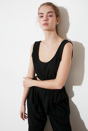 TRENDYOLMİLLA Siyah Crop Örme Bluz TWOSS21BZ1137 2