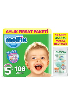 Molfix Bebek Bezi 5+ Beden Junior Plus Aylık Fırsat Paketi 108 Adet + Maske 10lu Hediye 1