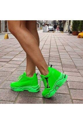 GOTHICA Kadın Neon Yeşil Gizli Topuklu Spor Ayakkabı 0