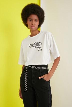 TRENDYOLMİLLA Ekru Baskılı Crop Örme T-Shirt TWOSS21TS0386 2
