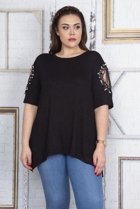 Şans Kadın Siyah Dantel Ve İnci Detaylı Viskon Bluz 65N22725 0