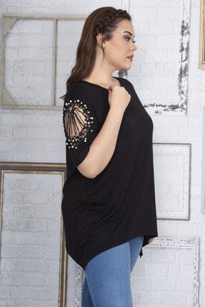Şans Kadın Siyah Dantel Ve İnci Detaylı Viskon Bluz 65N22725 2