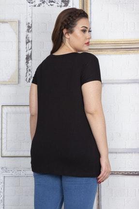 Şans Kadın Siyah Taş Detaylı V Yaka Viskon Bluz 65N22715 3