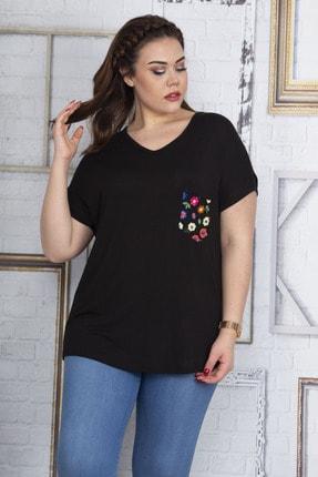 Şans Kadın Siyah Cebi Yazma Desen Tül Detaylı Düşük Kol Viskon Bluz 65N22702 1