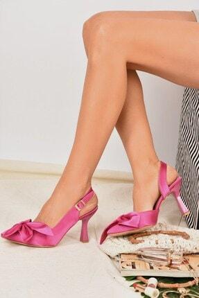Fox Shoes Kadın  Fuşya Saten Kumaş Topuklu Ayakkabı K922164804 0