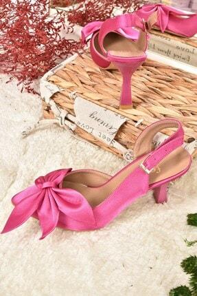 Fox Shoes Kadın  Fuşya Saten Kumaş Topuklu Ayakkabı K922164804 4