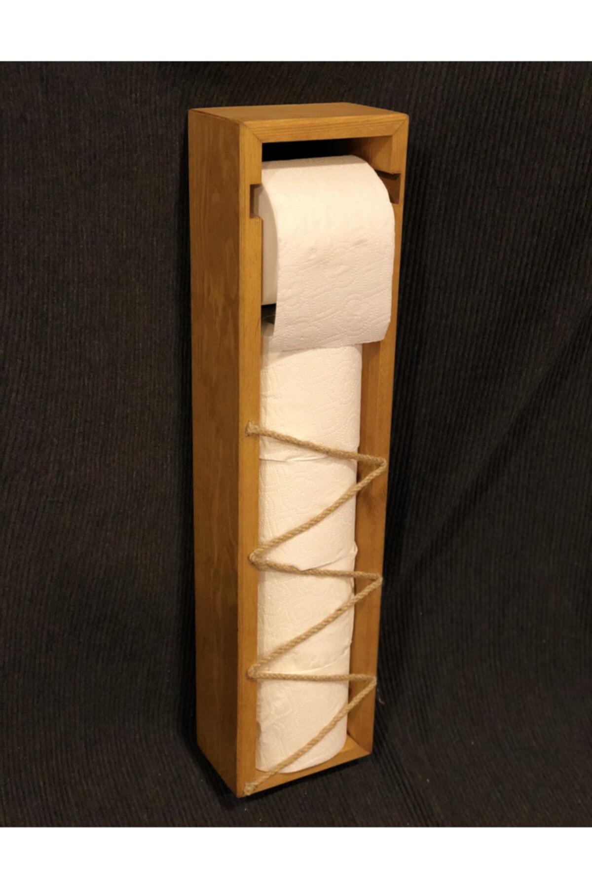 Emprenyeli Çam Ağacı Hazneli Tuvalet Kağıdı Standı