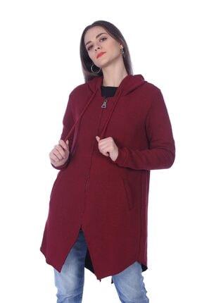 Jeans Kadın Uzun Asimetrik Kesim Hırka Modeli Bordo TXCB428FE7309