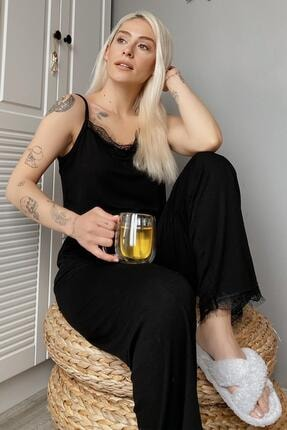 Pijamaevi Kadın Siyah Dantelli İp Askılı Örme Pijama Takımı 0