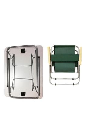Tedarikcenter 2 Adet Ahşap Kollu Yeşil Kamp Sandalyesi + 1 Adet 60x45 cm Katlanır Masa 2