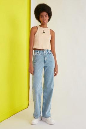 TRENDYOLMİLLA Mavi Bel Detaylı Yüksek Bel 90's Wide Leg Jeans TWOSS21JE0385 0