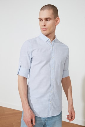 تصویر از Açık Mavi Erkek Gömlek Yaka Slim Fit Apoletli Gömlek TMNSS20GO0485
