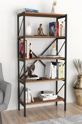 Bofigo Dekoratif 5 Raflı Kitaplık Metal Kitaplık Ceviz 2