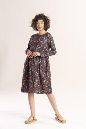 İpekçi Otantik Kadın Haki Otantik Çiçek Desenli Pazen Elbise 0