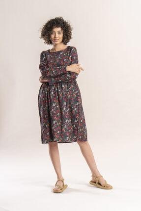 İpekçi Otantik Kadın Haki Otantik Çiçek Desenli Pazen Elbise 3