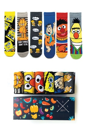 Socks Stations 6'lı Çizgi Film Çorap Kutusu 0