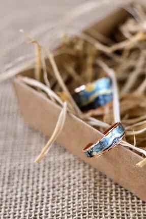 duendeart Unisex Mavi Van Gogh Starrynight İnce Yüzük 4