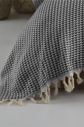 LADYNİL Çiftkişilik Yatak Örtüsü Pike Piramit Siyah 210x240 1