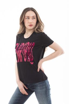 Emporio Armani Kadın  Pamuklu Sırt Logo Yazılı Kısa Kollu T-shirt 2