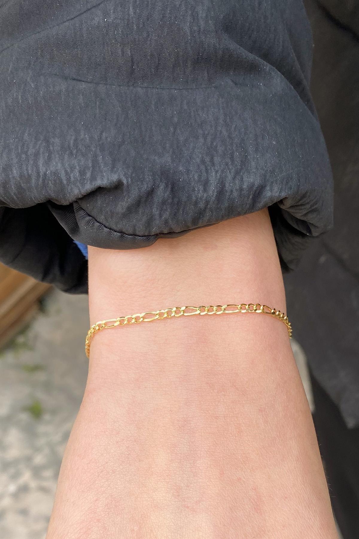 Altın Zarif Figaro Bileklik