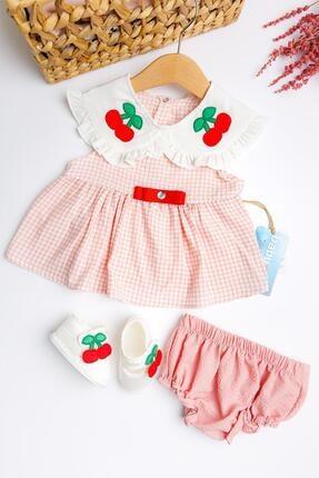 Babymod Kiraz Işlemeli Kız Bebek Elbise Takımı 0