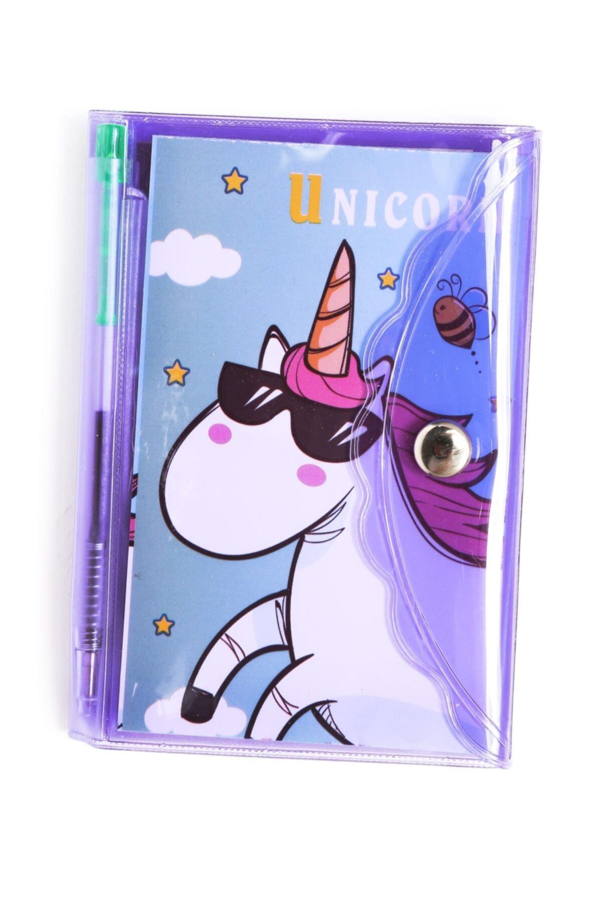 Mor Unicorn Bölmeli Mini Kalemli Defter Seti